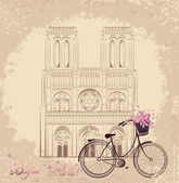 Bonjour Paris text with Notre Dame de Paris Cathedral and bicycle.  Romantic postcard from France.  Vector illustration — Stock Vector