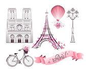 Paris symbols and landmarks. Vector set — Stock Vector