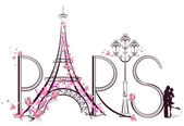 Tower Eiffel with Paris lettering. Vector illustration — Stock Vector