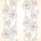 Vintage floral seamless pattern with hand drawn roses — Stock Vector