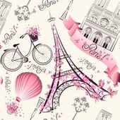Paris symbols seamless pattern. Romantic travel in Paris. Vector — Stock Vector