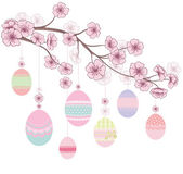 Colored Easter Eggs hanging on Ribbons on branch of cherry blossoms. Decorative spring floral background. Vector illustration. — Stockvector
