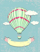 Vintage hot air balloon. Greeting card. Vector illustration. — Stock Vector