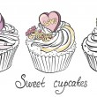 Valentines Cupcake with Hearts and Flowers. Hand drawn vector illustration — Stock Vector