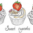 Cupcake with ripe strawberry. Hand drawn vector illustration — Stock Vector #51220787