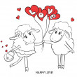 Couple in love. Cartoon Two cute enamored sheep with red hearts on a swing. Idea for greeting card with Happy Wedding or Valentines Day. Vector doodle illustration. — Stock Vector
