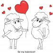 Couple in love. Cartoon Two cute enamored sheep with red hearts — Stock Vector #51221989