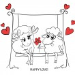 Couple in love. Cartoon Two cute enamored sheep with red hearts — Stock Vector #51222085
