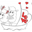 Couple in love. Two happy sheep in funny pose on cruise ship boat on travel vacation holidays.  Idea for greeting card with Happy Wedding or Valentine's Day. Cartoon doodle vector illustration — Stock Vector #51222171