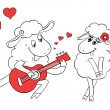 Couple in love. Romantic couple sheep playing serenade on guitar. Idea for greeting card with Happy Wedding or Valentine's Day. Cartoon doodle vector illustration — Stock Vector #51222237