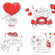 Couple in love. Set of funny pictures happy sheep. Idea for greeting card with Happy Wedding or Valentine's Day. Cartoon doodle vector illustration — Stock Vector #51222313