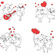 Couple in love. Set of funny pictures happy sheep. Idea for greeting card with Happy Wedding or Valentine's Day. Cartoon doodle vector illustration — Stock Vector #51222351