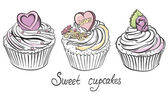 Valentines Cupcake with Hearts and Flowers. Hand drawn vector illustration — ストックベクタ