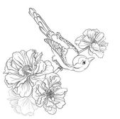 Birds sitting on blooming roses. Flower background. Vector hand drawing — Vetorial Stock