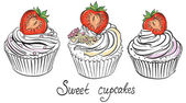 Cupcake with ripe strawberry. Hand drawn vector illustration — Vector de stock