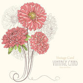 Vintage card with aster flowers. Hand drawn vector illustration — ストックベクタ