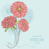 Vintage card with aster flowers. Hand drawn vector illustration — Stock Vector