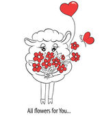 Cartoon cute sheep with red hearts and flowers.  Idea for greeting card with Happy Wedding or Valentines Day or Mothers day. Vector doodle illustration. — Stock Vector