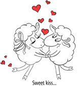 Couple in love kissing. Cartoon Two cute enamored sheep with red hearts.  Idea for greeting card with Happy Wedding or Valentines Day. Vector doodle illustration. — Stock Vector
