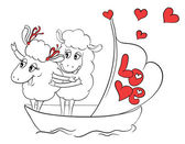 Couple in love. Two happy sheep in funny pose on cruise ship boat on travel vacation holidays.  Idea for greeting card with Happy Wedding or Valentine's Day. Cartoon doodle vector illustration — Vector de stock