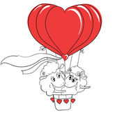 Couple in love. Romantic happy couple sheep riding a hot air balloon. Idea for greeting card with Happy Wedding or Valentine's Day. Cartoon doodle vector illustration — Stock Vector