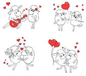 Couple in love. Set of funny pictures happy sheep. Idea for greeting card with Happy Wedding or Valentine's Day. Cartoon doodle vector illustration — Vecteur