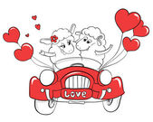 Couple in love. Happy couple sheep in wedding car. Idea for greeting card with Happy Wedding or Valentine's Day. Cartoon doodle vector illustration — Stock Vector