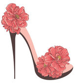 High heels vintage shoes with flowers — Stock Vector