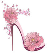 High heels vintage shoes with flowers — 图库矢量图片