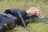 Female spy shot down — Stock Photo