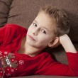 Boy Portrait in pyjama - Stock Photo