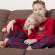 Two happy boys on the sofa — Stock Photo