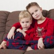 Two boys on the sofa — Stock Photo