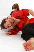 Women fighting martial arts — Stock Photo