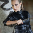 Danger girl with knife — Stock Photo #30871073