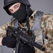 Stock Photo: SWAT Commander with machine gun