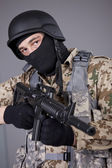 SWAT Commander with machine gun — Stock Photo