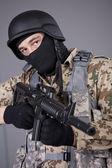 SWAT Commander with machine gun — Stock Photo