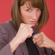 Business woman in fighting stance — Stock Photo #6088845