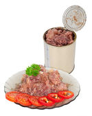 Canned meat on plate — Stock Photo