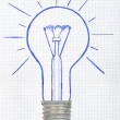 Drawing light bulb - Stock Photo