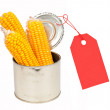Ears of corn in a can with a label - Stock Photo