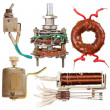 Old electrical components - Foto Stock