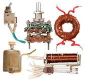 Componentes elétricos antigos — Fotografia Stock