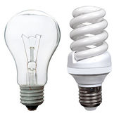 Incandescent and fluorescent energy saving light bulbs — Stock Photo