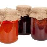 Morela, wiśnia, truskawka i dżem — Zdjęcie stockowe