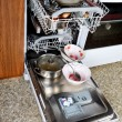 Foto Stock: Dirty dishes in dishwasher