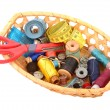 Sewing kit in a basket — Stock Photo