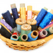 Sewing kit in a basket - Stock Photo