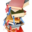 Stack of books with bookmarks — Stock Photo